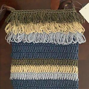 Blue and brown shoulder bag